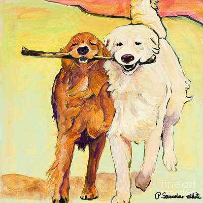 White Dogs Painting - Stick With Me by Pat Saunders-White