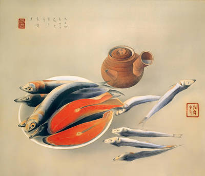 Teapot Painting - Still Life Salmon Slices And Sardines by Mountain Dreams