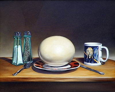Still Life With Boiled Ostrich Egg Original by RB McGrath