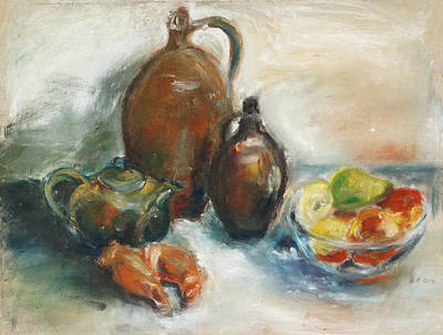 Still Life With Earthen Jugs Art Print by Barbara Pommerenke