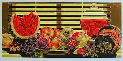 Still Life With Fruit And Wine Original by Varvara Stylidou