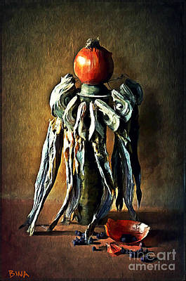 Onion Mixed Media - Still Life With Stockfish by Binka Kirova