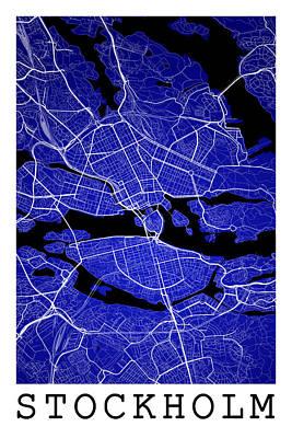 City Map Digital Art - Stockholm Street Map - Stockholm Sweden Road Map Art On Color by Jurq Studio