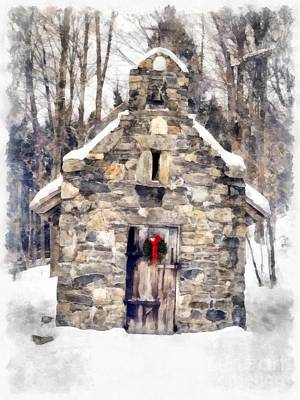 Painting - Stone Chapel In The Woods Trapp Family Lodge Stowe Vermont by Edward Fielding