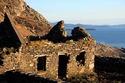 Irish Seascape Photograph - Stone House Ruin by Aidan Moran