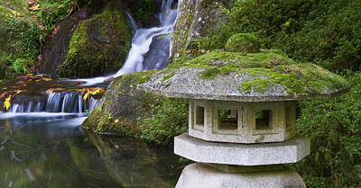 Sutton Photograph - Stone Lantern And Heavenly Falls by William Sutton