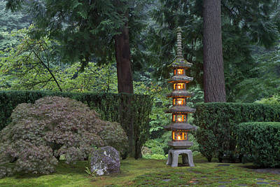 Sutton Photograph - Stone Lantern Illuminated With Candles by William Sutton