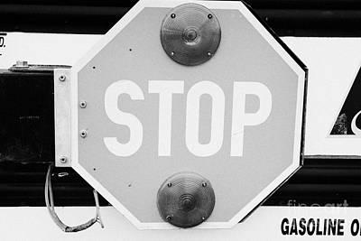 stop sign on a type a gmc north american short yellow school bus Saskatchewan Canada Print by Joe Fox