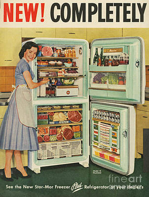 Nineteen Fifties Drawing - Stor-mor  1950s Uk Fridges Freezers by The Advertising Archives