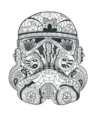 Sugar Skull Drawing - Stormtrooper #1 by Malina Alexander