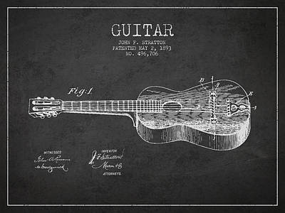 Guitar Drawing - Stratton Guitar Patent Drawing From 1893 by Aged Pixel