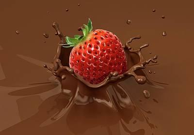 Strawberry Milkshake Photograph - Strawberry Splashing Into Milkshake by Leonello Calvetti
