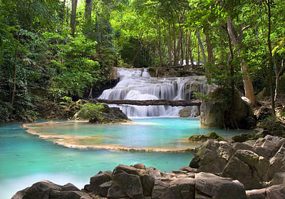 Stream With Waterfall In Tropical Forest Art Print
