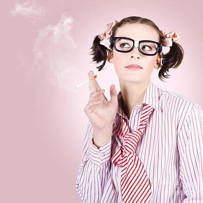 Stressed Geeky Office Worker On Smoke Break Art Print by Jorgo Photography - Wall Art Gallery