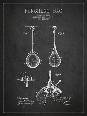 Punching Drawing - Striking Bag Patent Drawing From1891 by Aged Pixel
