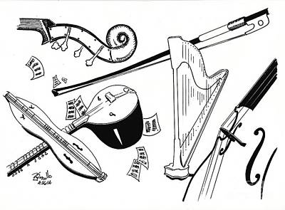 Alex Lifeson Drawing - Strings by Andrew Cravello