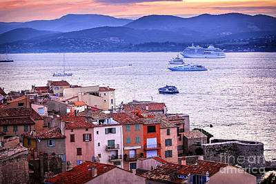 Rooftops Photograph - St.tropez At Sunset by Elena Elisseeva