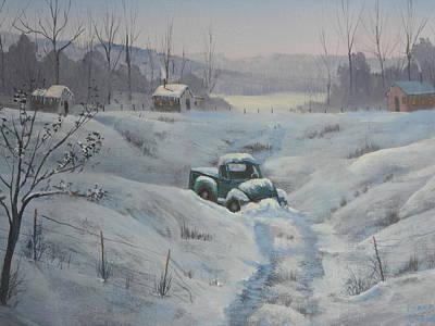 Snowscape Painting - Stuck by Frank Cochran