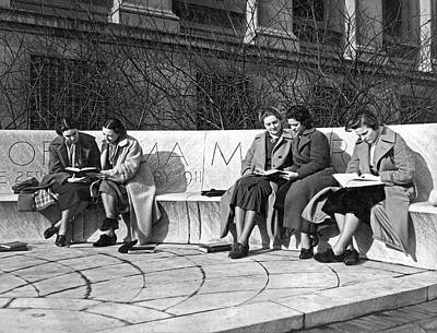 Monochromatic Study Photograph - Students Study At Columbia by Underwood Archives