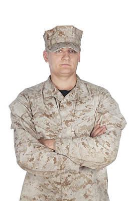 Photograph - Studio Shot Of Soldier In Camouflage by Oleg Zabielin