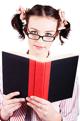 Studious School Student Reading Text Book On White Art Print