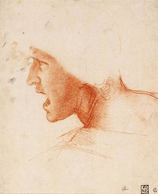 1505 Painting - Study Of A Warrior's Head For The Battle Of Anghiari by Leonardo da Vinci