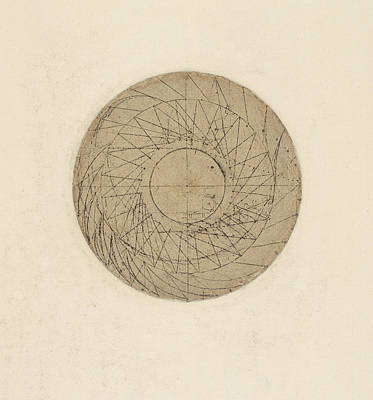 Library Drawing - Study Of Water Wheel From Atlantic Codex by Leonardo Da Vinci