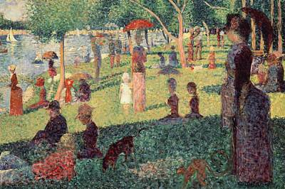 River Walk Painting - Study On La Grande Jatte by Georges Seurat