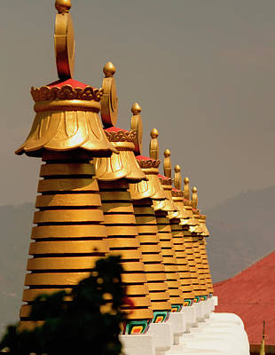 Stupas In A Buddhist Monastery Art Print by Jaina Mishra