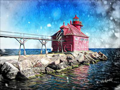 Sturgeon Digital Art - Sturgeon Bay Lighthouse by Kelly Schutz