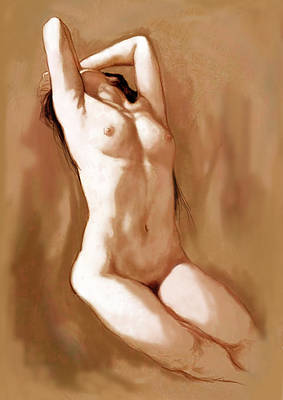 Abstract Drawing - Stylised Nude Girl Drawing Art Sketch by Kim Wang