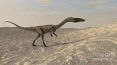 Triassic Digital Art - Suchomimus Walking Through A Desert by Kostyantyn Ivanyshen