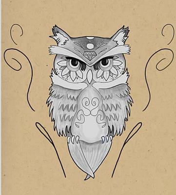 Flash Works Digital Art - Sugar Skull Owl by Niklas  Bates
