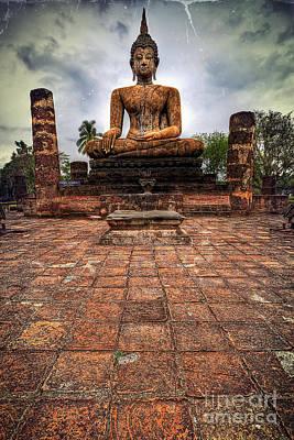 Church Pillars Photograph - Sukhothai Buddha by Adrian Evans