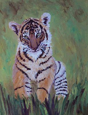 Painting - Shy Sumatran Tiger Cub by Margaret Saheed