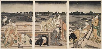 Portrait Woodblock Painting - Sumidagawa Funa-asobi = Pleasure-boating On The Sumida River by Artokoloro