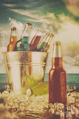 Photograph - Summer Drinks In Ice Bucket On The Beach by Sandra Cunningham