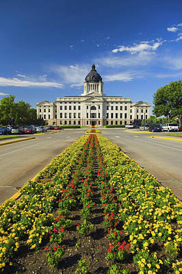 South Dakota Tourism Photograph - Summer Flower-bed Leading To South by Panoramic Images