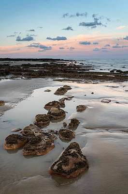 Summer Landscape With Rocks On Beach During Late Evening And Low Art Print by Matthew Gibson