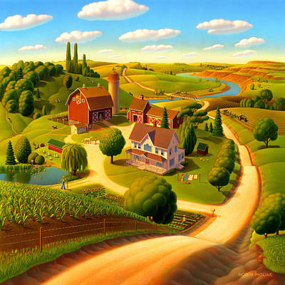 Wood Painting - Summer On The Farm  by Robin Moline
