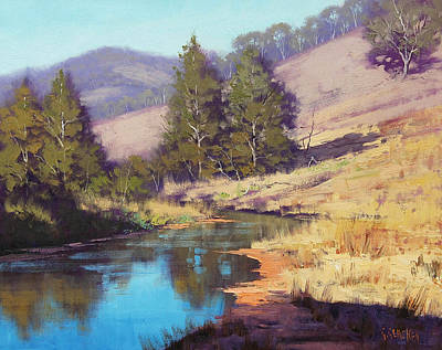 Creek Oil Painting - Summer River  by Graham Gercken