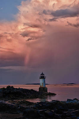 Photograph - Summer Storm Squall Passes Fort Pickering Lighthouse by Jeff Folger