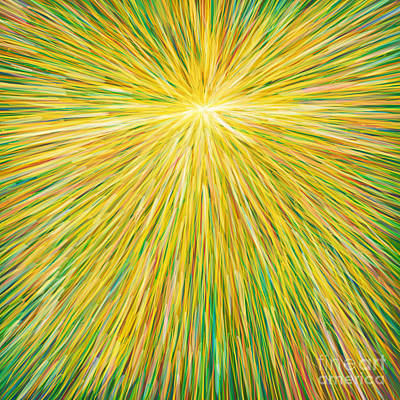 Oil Pastel Abstract Painting - SUN by Atiketta Sangasaeng