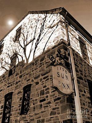 Photograph - Sun Inn - Bethlehem Pa - Sepia by Jacqueline M Lewis