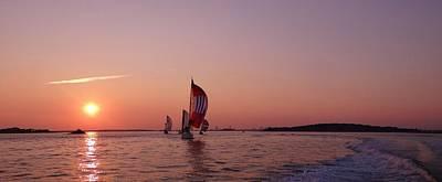 Boston Harbor Photograph - Sun Setting Over Boston Series by Laura Lee Zanghetti