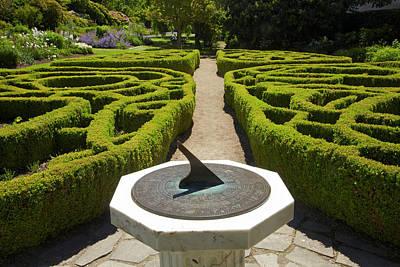Sundial And Knot Garden, Botanic Art Print