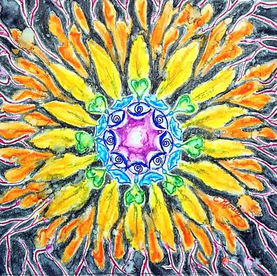 Kundalini Painting - Sunflower Chakra Doodle by Christine Kfoury