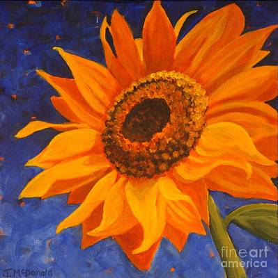 Art Print featuring the painting Sunflower Gazing by Janet McDonald