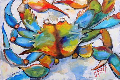 Blue Crab Painting - Sunny Blue Crab by Carole Foret