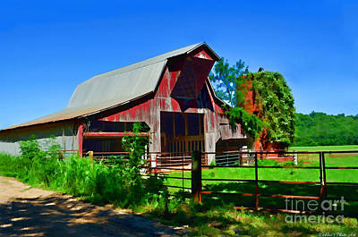 Photograph - Sunny Summer Barn Digital Paint by Debbie Portwood